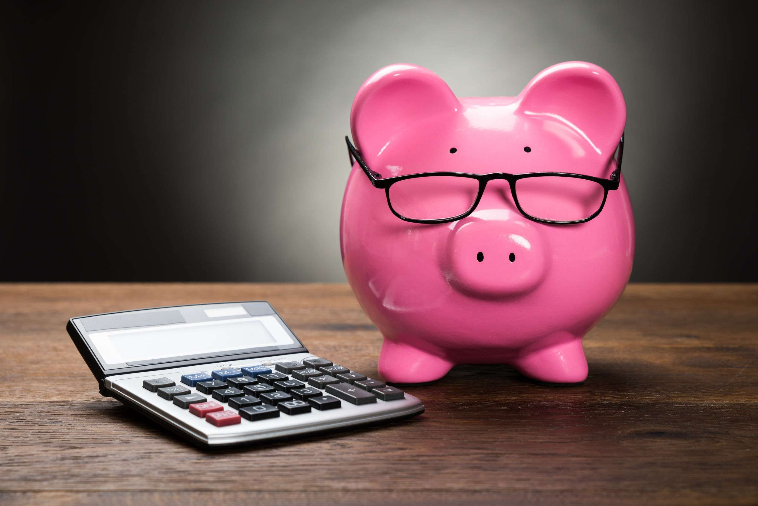 cartoon pink pig with glasses on sat next to a calculator