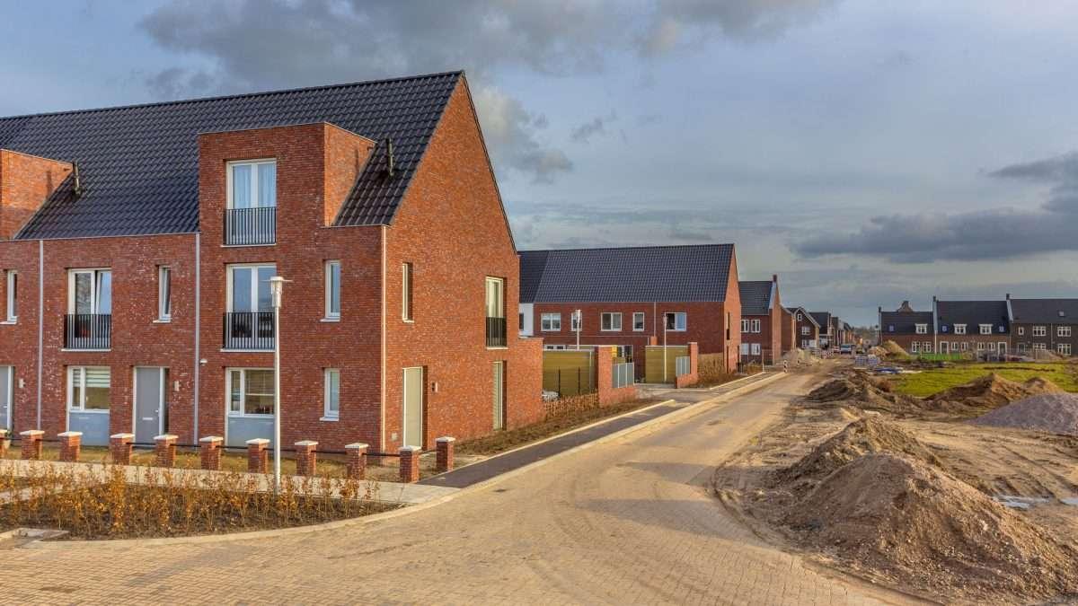 Newly built houses in modern street